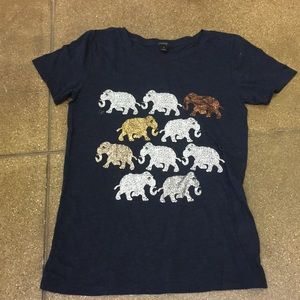 J Crew elephants 🐘 T-shirt navy blue